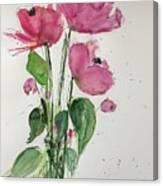 3 Pink Flowers Canvas Print