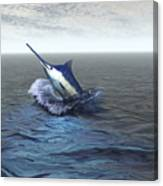 A Blue Marlin Bursts From The Ocean Canvas Print