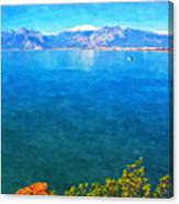 A Digitally Constructed Painting Of A Small Fishing Boat  With Snow Covered Mountains In Antalya Turkey Canvas Print