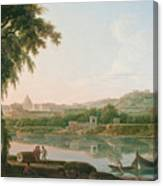 A Distant View Of Rome Across The Tiber Canvas Print