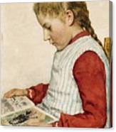 A Girl Looking At A Book Canvas Print