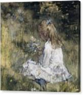 A Girl With Flowers On The Grass Canvas Print