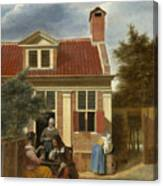 A Group At The Site Behind A House Canvas Print