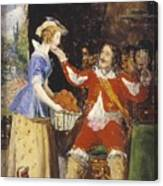 A Maid Offering A Basket Of Fruit To A Cavalier Canvas Print