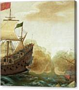 A Naval Encounter Between Dutch And Spanish Warships Canvas Print