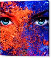 A Pair Of Beautiful Blue Women Eyes Beaming Color Earth Effect Painting Collage Violet Makeup Canvas Print