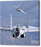 A Pair Of Bulgarian Air Force Mig-29s Canvas Print