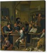 A Riotous Schoolroom With A Snoozing Schoolmaster Canvas Print
