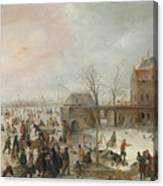 A Scene On The Ice Near A Town Canvas Print