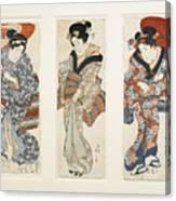 A Set Of Three Woodblock Prints Kakemono Canvas Print