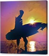 A Surfer Watching The Waves At Sunset Canvas Print