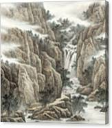 A Waterfall In The Mountains Canvas Print