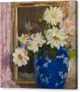 Abbott Graves 1859-1936 Flowers In A Blue Vase Canvas Print