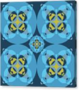 Abstract Mandala Cyan, Dark Blue And Yellow Pattern For Home Decoration Canvas Print