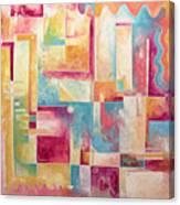 Abstract Pop Art Style Unique Pastel Painting Contemporary Art By Megan Duncanson Canvas Print