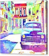 Abstract Watercolor - Havana Cuba Classic Car IIi Canvas Print