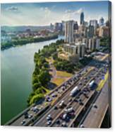 Aerial View Of The Austin Skyline As Rush Hour Traffic Picks Up On I-35 Canvas Print