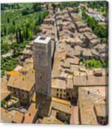 Aerial Wide-angle View Of The Historic Town Of San Gimignano Wit Canvas Print