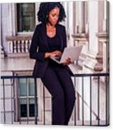 African American Businesswoman Working In New York Canvas Print