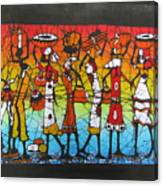 African Woman Carrying On Head Canvas Print