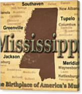 Aged Mississippi State Pride Map Silhouette  Canvas Print