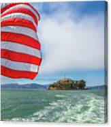 Alcatraz Island With American Flag Canvas Print