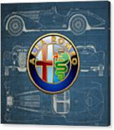 Alfa Romeo 3 D Badge Over 1938 Alfa Romeo 8 C 2900 B Vintage Blueprint Canvas Print