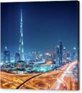 Amazing Night Dubai Downtown Skyline, Dubai, United Arab Emirates Canvas Print