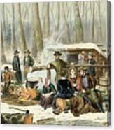 American Forest Scene Maple Sugaring Canvas Print