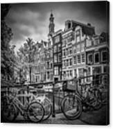 Amsterdam Flower Canal Black And White Canvas Print