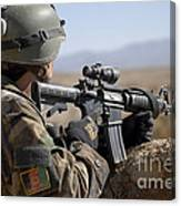An Afghan Commando Scans The Horizon Canvas Print