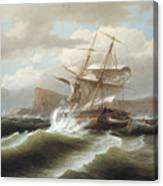 An American Ship In Distress Canvas Print