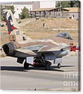 An Israeli Air Force F-16b Netz Taxiing Canvas Print