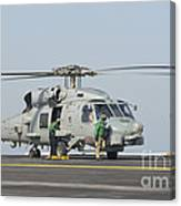 An Mh-60r Seahawk Embarked Aboard Uss Canvas Print