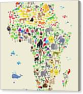 Animal Map Of Africa For Children And Kids Canvas Print