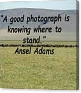 Ansel Adams Quote Canvas Print