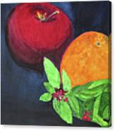 Apple, Orange And Red Basil Canvas Print