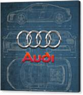 Audi 3 D Badge Over 2016 Audi R 8 Blueprint Canvas Print
