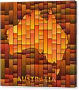 Australia Map Glasa In Orange Canvas Print