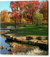 Autumn At The Deer Lake Creek Riffles In Forest Park St Louis Missouri Canvas Print