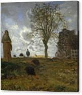 Autumn Landscape With A Flock Of Turkeys Canvas Print