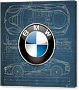 B M W 3 D Badge Over B M W I8 Blueprint  Canvas Print
