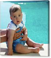 Baby Boy Sitting By The Pool Canvas Print