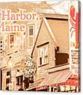 Bar Harbor Maine Shops At Night Canvas Print