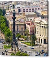 Barcelona With Tree-lined Las Ramblas Canvas Print
