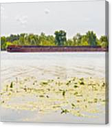 Barge On The Dnieper River Canvas Print