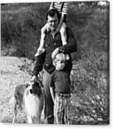 Barry Sadler With Sons And Family Collie Tucson Arizona 1971 Canvas Print