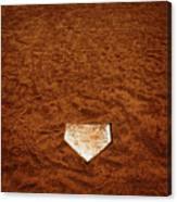Baseball Homeplate In Brown Dirt For Sports American Past Time Canvas Print