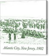 Beach, Bathers, Ocean, Atlantic City, New Jersey, 1902 Canvas Print