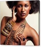 Beautiful African American Woman Wearing Jewelry Canvas Print